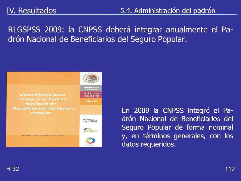 112 En 2009 la CNPSS integró el Pa- drón Nacional de Beneficiarios del Seguro Popular de forma nominal y, en términos generales, con los datos requeridos.