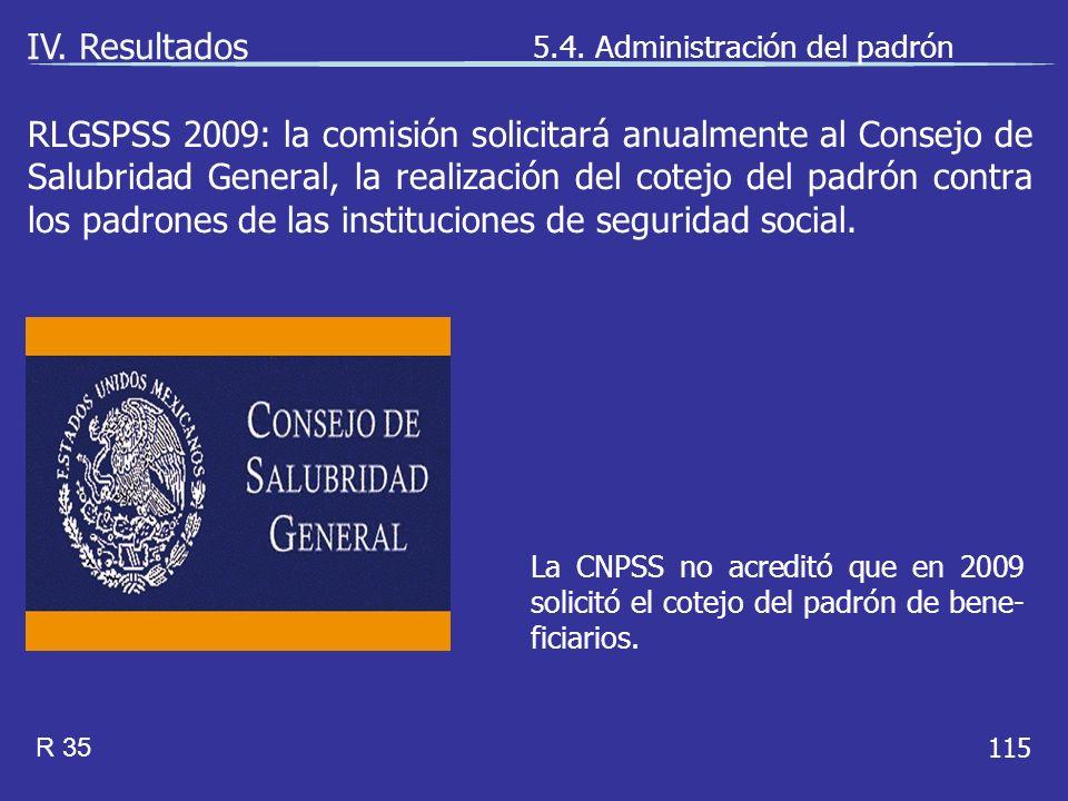 115 La CNPSS no acreditó que en 2009 solicitó el cotejo del padrón de bene- ficiarios.