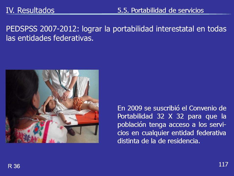 117 En 2009 se suscribió el Convenio de Portabilidad 32 X 32 para que la población tenga acceso a los servi- cios en cualquier entidad federativa distinta de la de residencia.