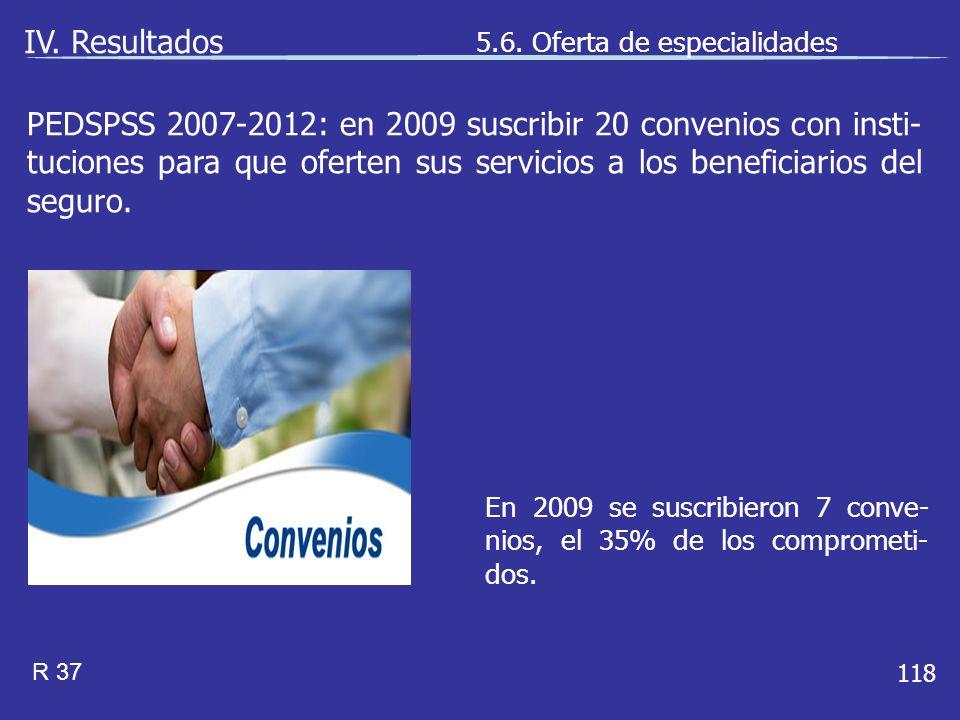 118 En 2009 se suscribieron 7 conve- nios, el 35% de los comprometi- dos.