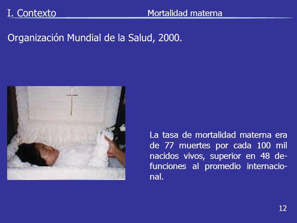 I. Contexto Mortalidad materna 12 La tasa de mortalidad materna era de 77 muertes por cada 100 mil nacidos vivos, superior en 48 de- funciones al prom
