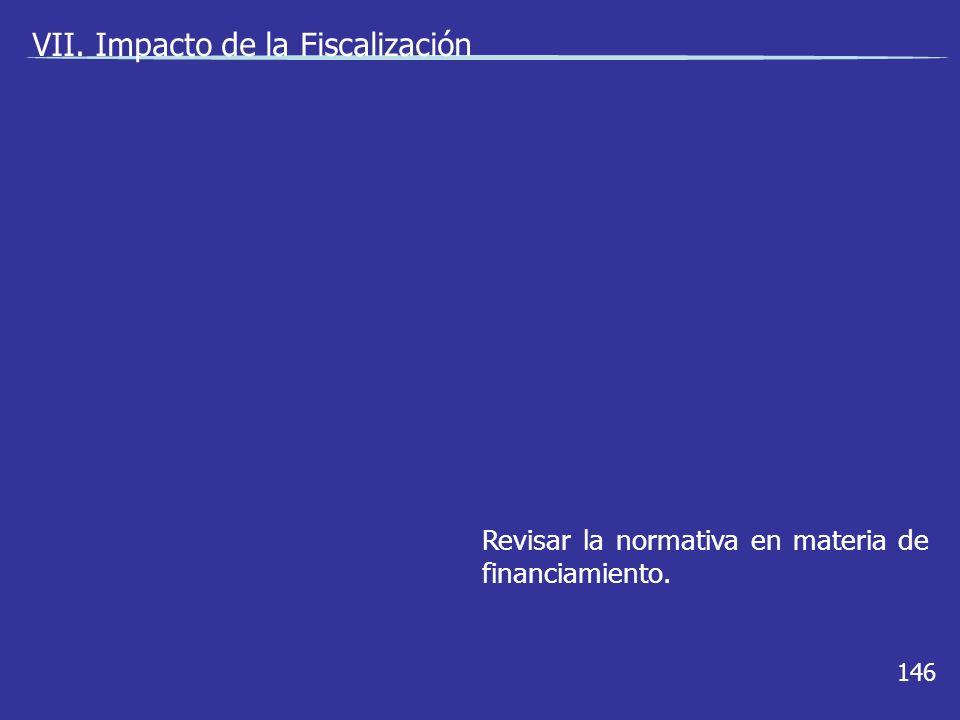 146 Revisar la normativa en materia de financiamiento. VII. Impacto de la Fiscalización