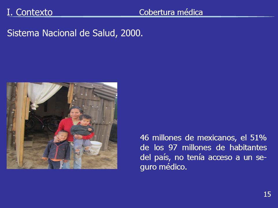 I. Contexto 15 46 millones de mexicanos, el 51% de los 97 millones de habitantes del país, no tenía acceso a un se- guro médico. Sistema Nacional de S