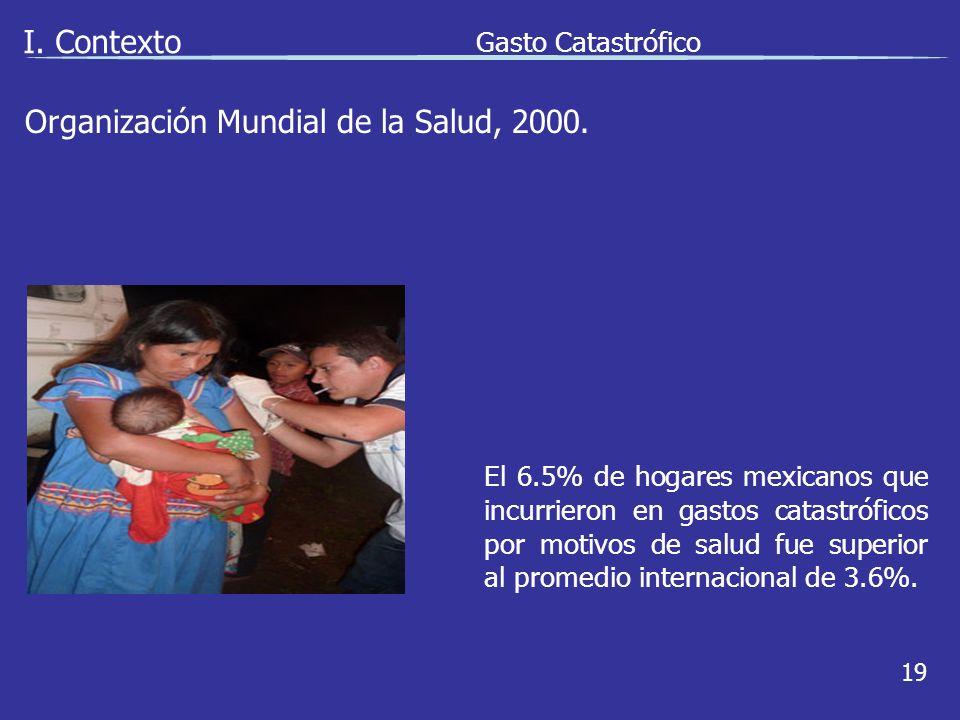 I. Contexto Gasto Catastrófico 19 El 6.5% de hogares mexicanos que incurrieron en gastos catastróficos por motivos de salud fue superior al promedio i