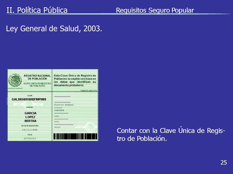 II.Política Pública 25 Contar con la Clave Única de Regis- tro de Población.