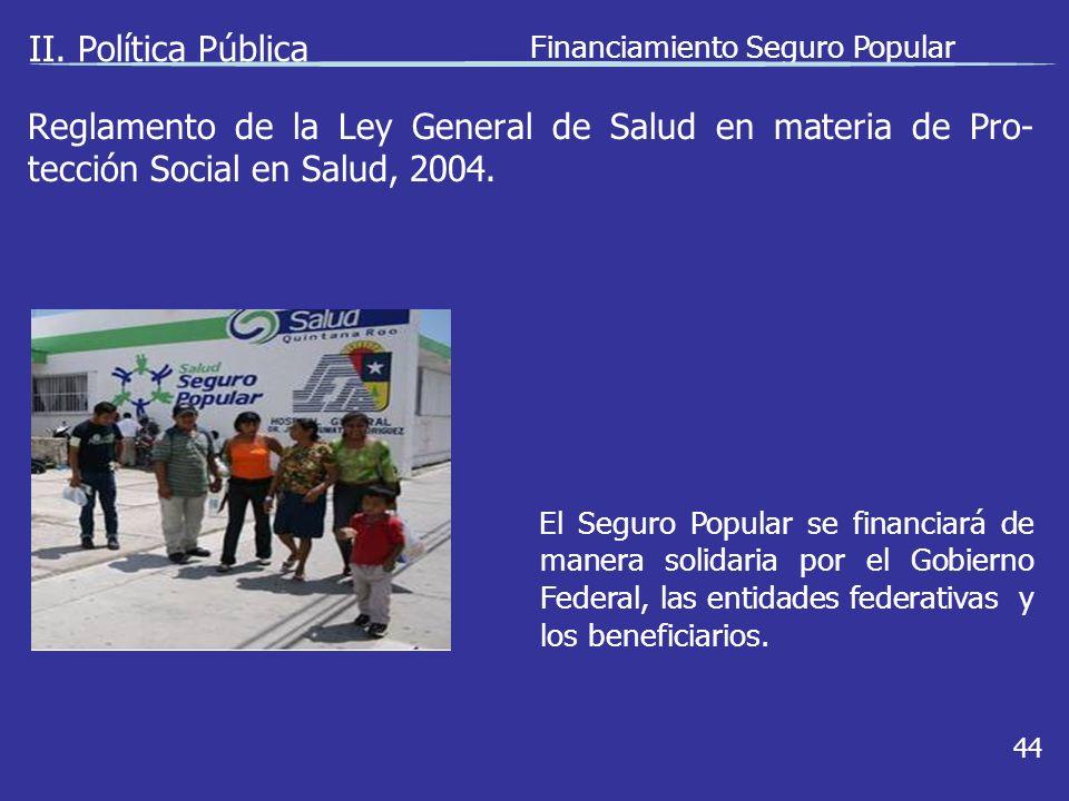 II. Política Pública Financiamiento Seguro Popular 44 El Seguro Popular se financiará de manera solidaria por el Gobierno Federal, las entidades feder