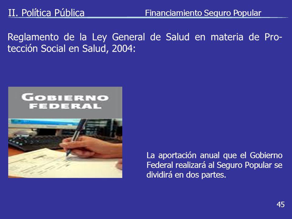 II. Política Pública Financiamiento Seguro Popular 45 La aportación anual que el Gobierno Federal realizará al Seguro Popular se dividirá en dos parte