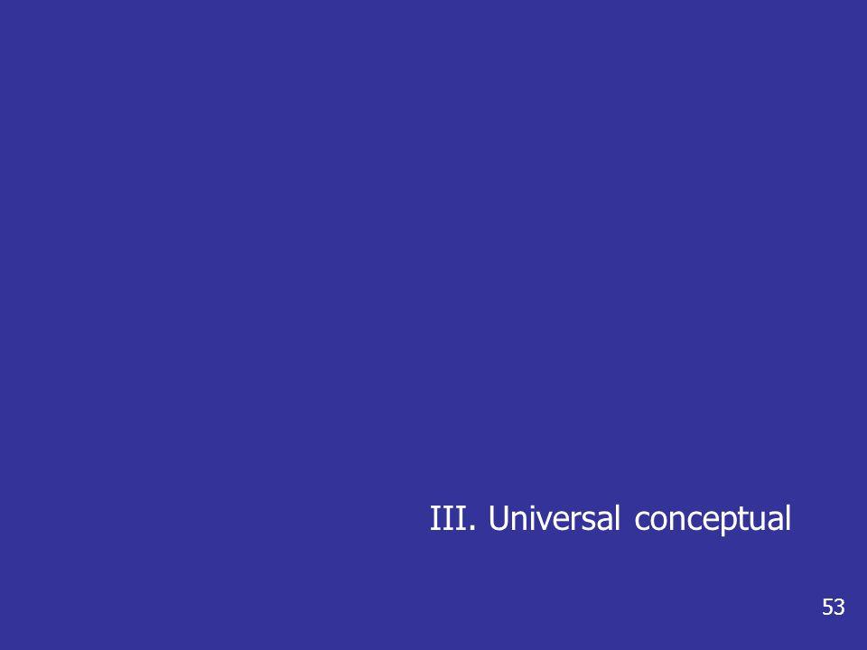 III. Universal conceptual 53