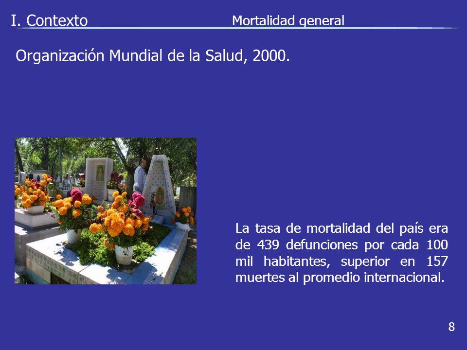 I. Contexto Mortalidad general 8 La tasa de mortalidad del país era de 439 defunciones por cada 100 mil habitantes, superior en 157 muertes al promedi