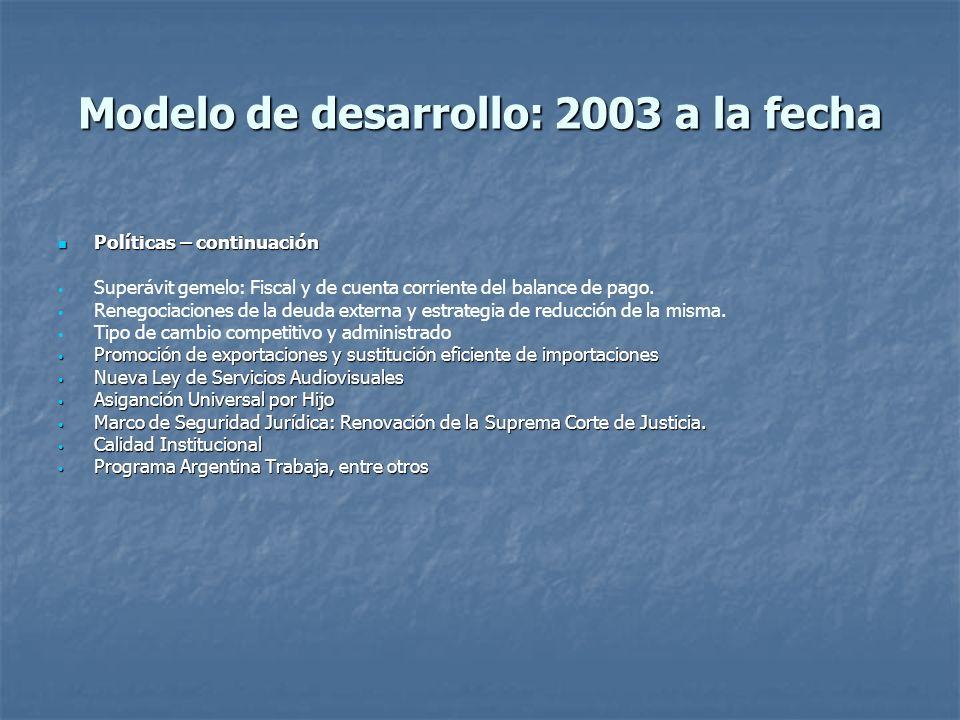 Modelo de desarrollo: 2003 a la fecha Políticas – continuación Políticas – continuación Superávit gemelo: Fiscal y de cuenta corriente del balance de