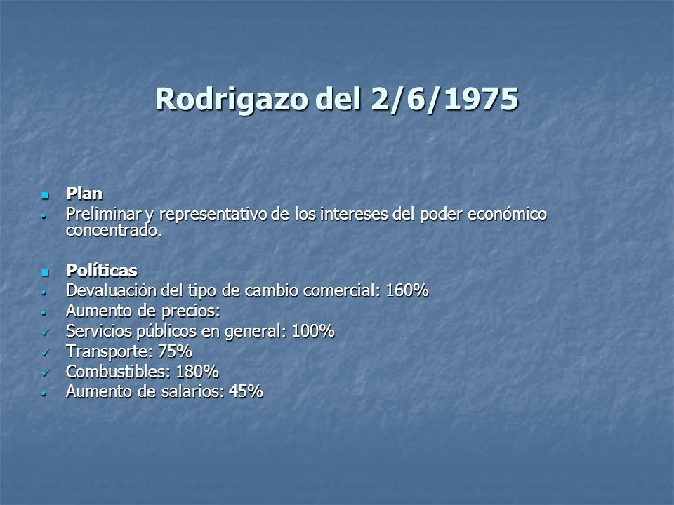 Rodrigazo del 2/6/1975 Plan Plan Preliminar y representativo de los intereses del poder económico concentrado. Preliminar y representativo de los inte