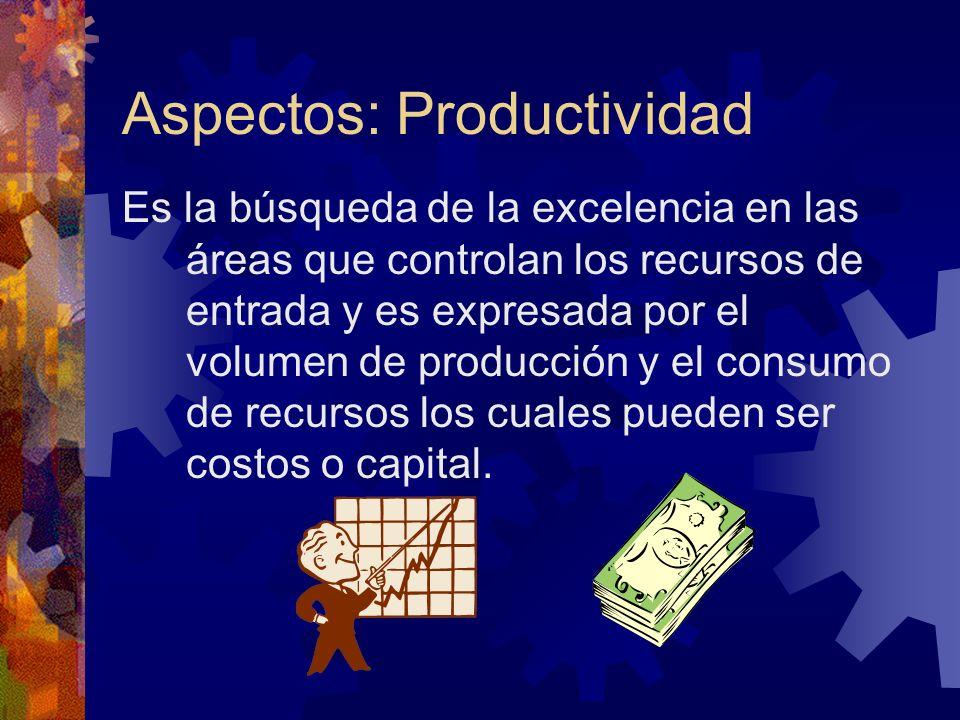 Aspectos: Productividad Es la búsqueda de la excelencia en las áreas que controlan los recursos de entrada y es expresada por el volumen de producción
