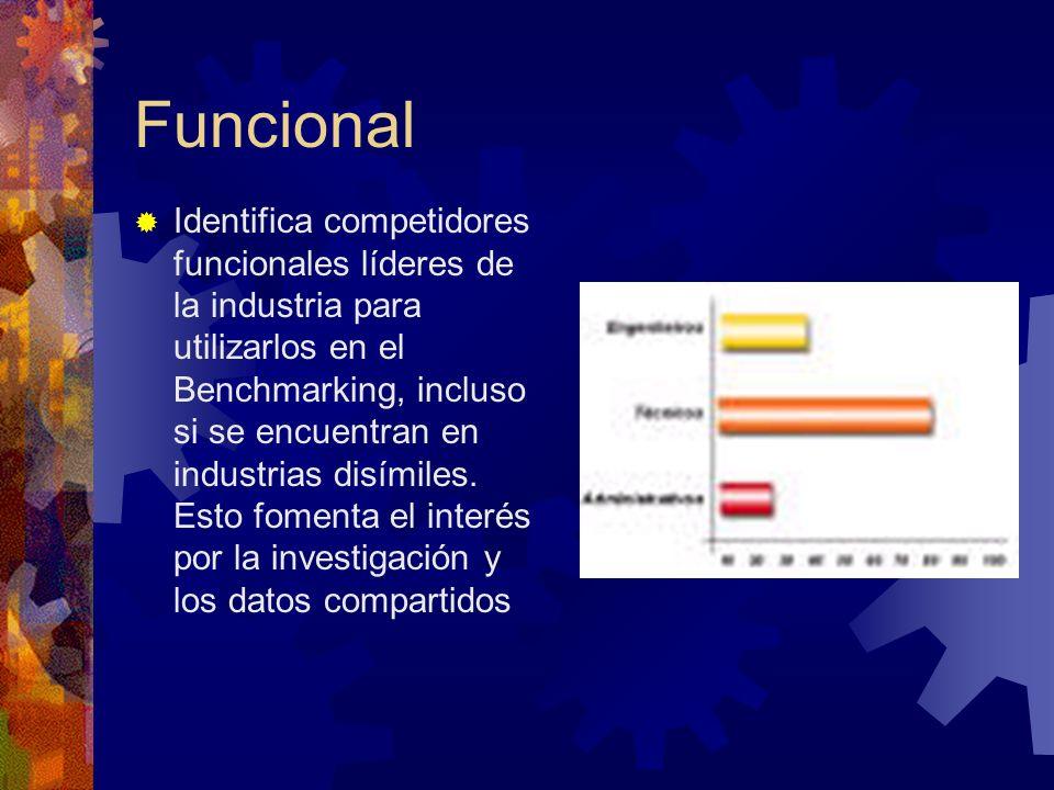 Funcional Identifica competidores funcionales líderes de la industria para utilizarlos en el Benchmarking, incluso si se encuentran en industrias disí