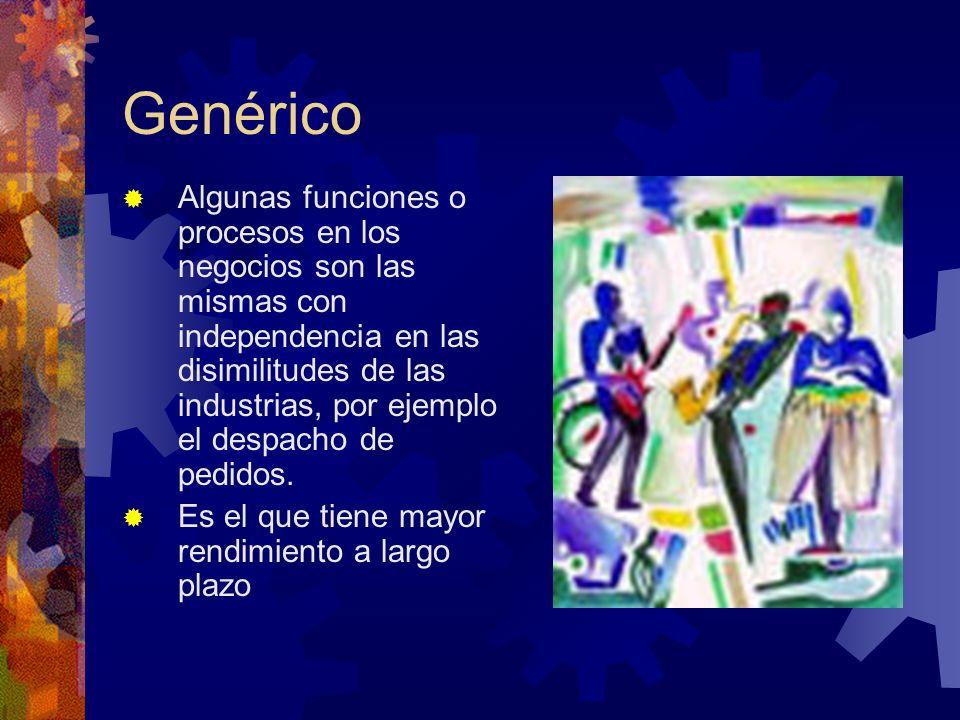 Genérico Algunas funciones o procesos en los negocios son las mismas con independencia en las disimilitudes de las industrias, por ejemplo el despacho