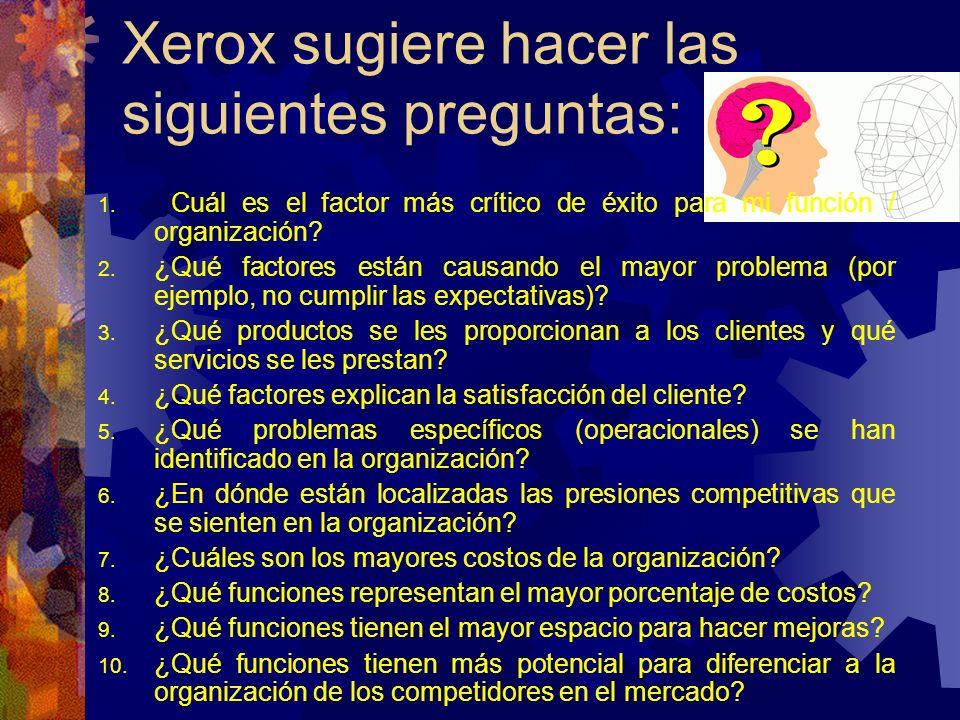 Xerox sugiere hacer las siguientes preguntas: 1. ¿Cuál es el factor más crítico de éxito para mi función / organización? 2. ¿Qué factores están causan
