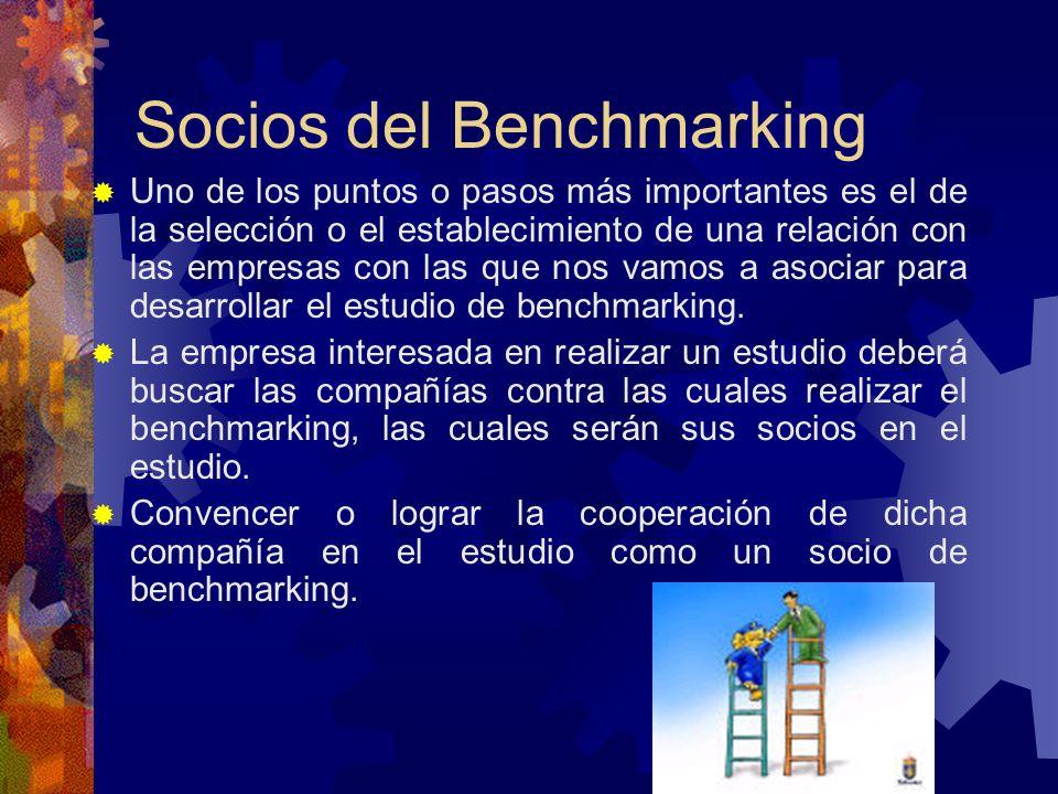Socios del Benchmarking Uno de los puntos o pasos más importantes es el de la selección o el establecimiento de una relación con las empresas con las
