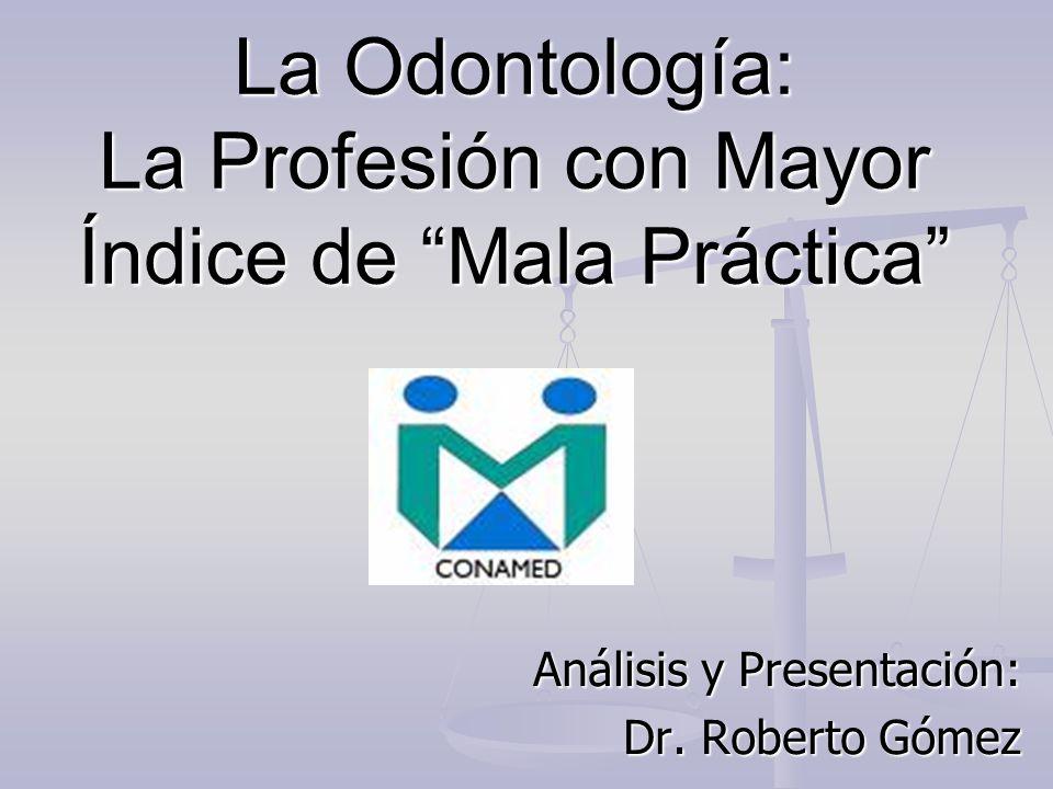 La Odontología: La Profesión con Mayor Índice de Mala Práctica Análisis y Presentación: Dr. Roberto Gómez