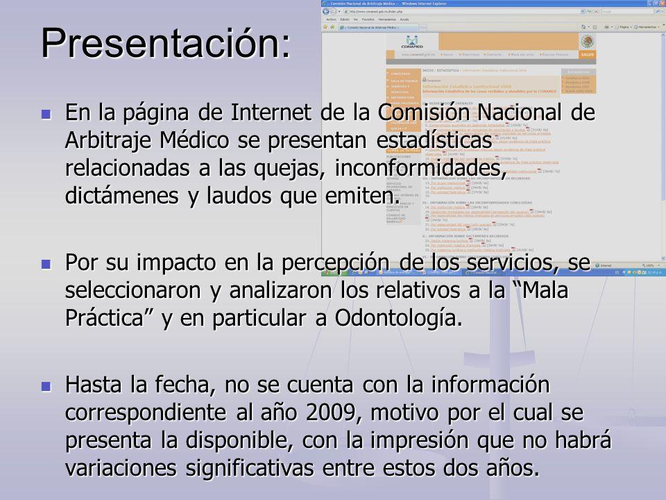 Presentación: En la página de Internet de la Comisión Nacional de Arbitraje Médico se presentan estadísticas relacionadas a las quejas, inconformidade