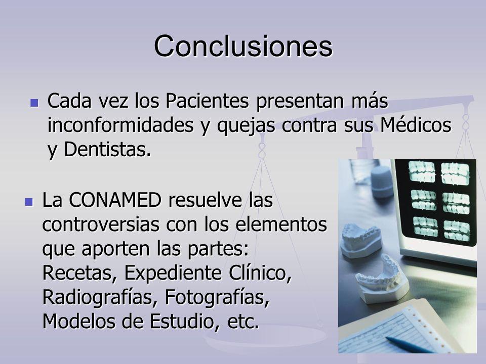 Conclusiones Cada vez los Pacientes presentan más inconformidades y quejas contra sus Médicos y Dentistas. Cada vez los Pacientes presentan más inconf