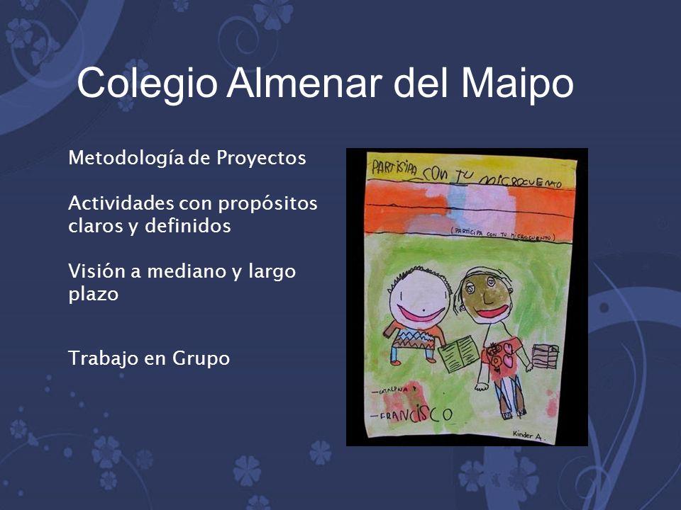 Metodología de Proyectos Actividades con propósitos claros y definidos Visión a mediano y largo plazo Trabajo en Grupo Colegio Almenar del Maipo