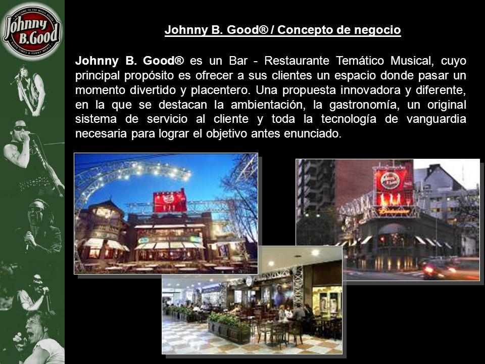 Johnny B. Good® / Concepto de negocio Johnny B. Good® es un Bar - Restaurante Temático Musical, cuyo principal propósito es ofrecer a sus clientes un