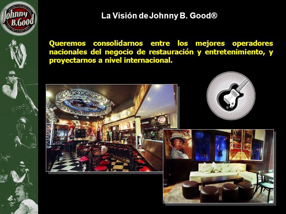 La Visión de Johnny B. Good® Queremos consolidarnos entre los mejores operadores nacionales del negocio de restauración y entretenimiento, y proyectar