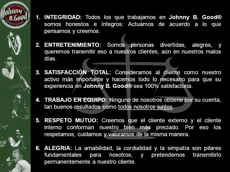 1.INTEGRIDAD: Todos los que trabajamos en Johnny B. Good® somos honestos e íntegros: Actuamos de acuerdo a lo que pensamos y creemos. 2.ENTRETENIMIENT