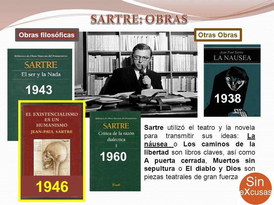 Sartre utilizó el teatro y la novela para transmitir sus ideas: La náusea o Los caminos de la libertad son libros claves, así como A puerta cerrada, M