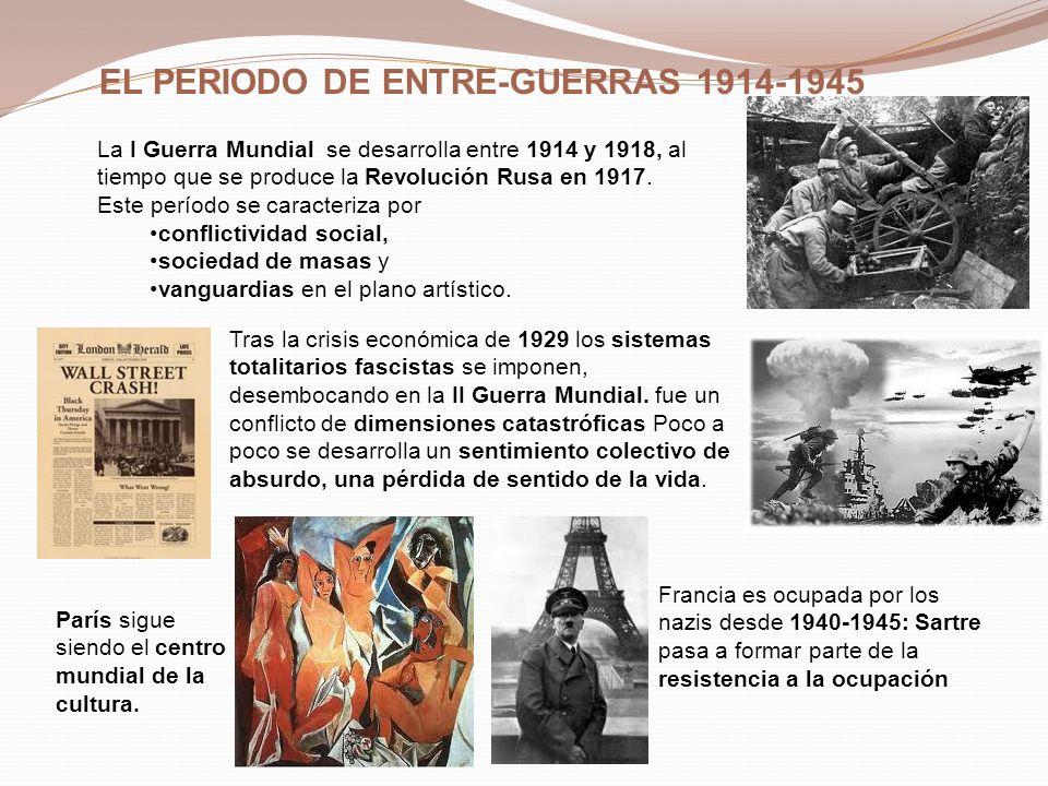 EL PERIODO DE ENTRE-GUERRAS 1914-1945 Francia es ocupada por los nazis desde 1940-1945: Sartre pasa a formar parte de la resistencia a la ocupación Tr
