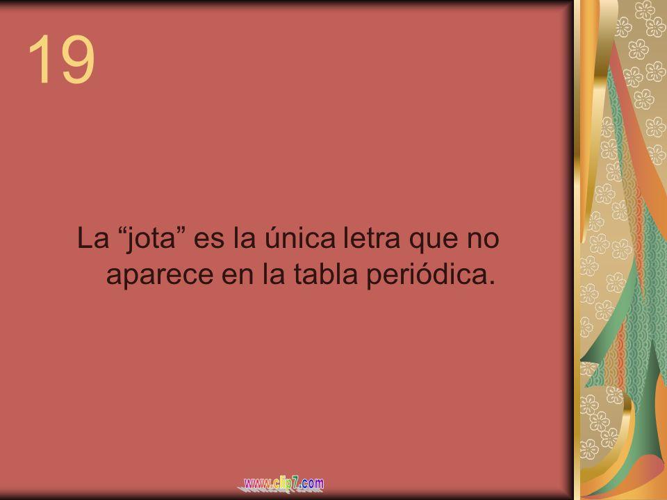 19 La jota es la única letra que no aparece en la tabla periódica.