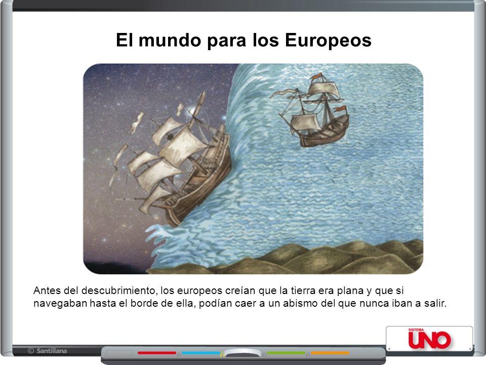 Antes del descubrimiento, los europeos creían que la tierra era plana y que si navegaban hasta el borde de ella, podían caer a un abismo del que nunca