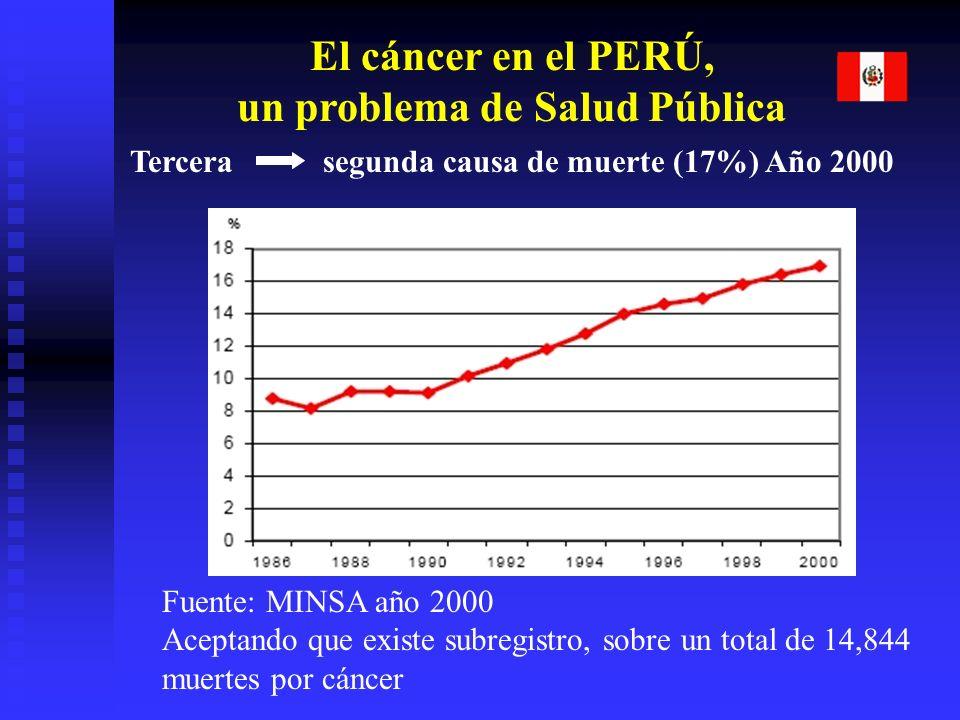 El cáncer en el PERÚ, un problema de Salud Pública Tercera segunda causa de muerte (17%) Año 2000 Fuente: MINSA año 2000 Aceptando que existe subregistro, sobre un total de 14,844 muertes por cáncer