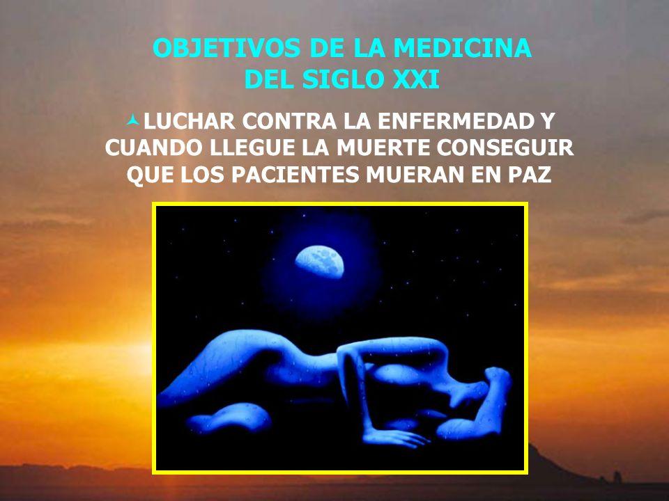 OBJETIVOS DE LA MEDICINA DEL SIGLO XXI LUCHAR CONTRA LA ENFERMEDAD Y CUANDO LLEGUE LA MUERTE CONSEGUIR QUE LOS PACIENTES MUERAN EN PAZ