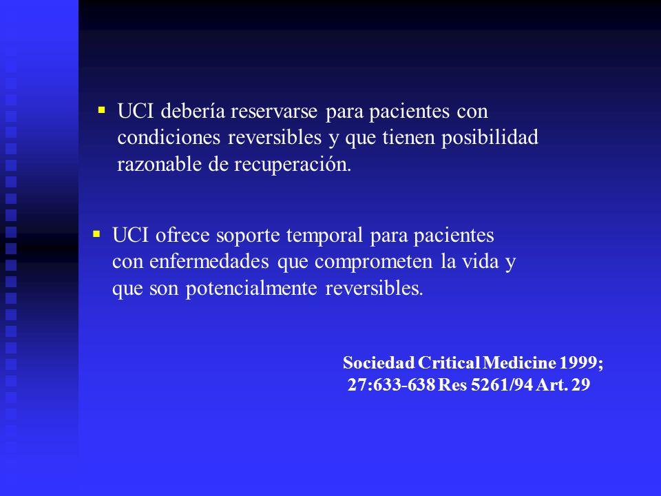 Sociedad Critical Medicine 1999; 27:633-638 Res 5261/94 Art. 29 UCI debería reservarse para pacientes con condiciones reversibles y que tienen posibil