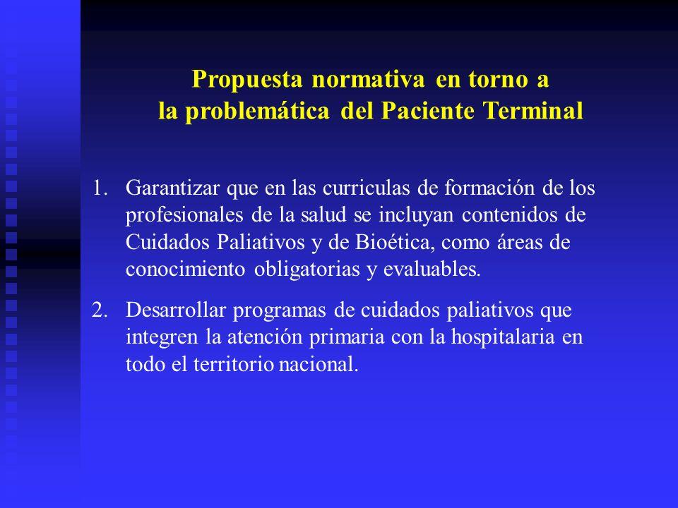 Propuesta normativa en torno a la problemática del Paciente Terminal 1.Garantizar que en las curriculas de formación de los profesionales de la salud