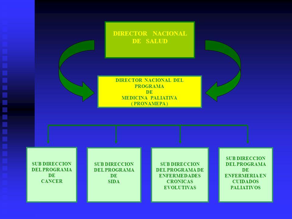 DIRECTOR NACIONAL DE SALUD DIRECTOR NACIONAL DEL PROGRAMA DE MEDICINA PALIATIVA ( PRONAMEPA ) SUB DIRECCION DEL PROGRAMA DE CANCER SUB DIRECCION DEL PROGRAMA DE SIDA SUB DIRECCION DEL PROGRAMA DE ENFERMEDADES CRONICAS EVOLUTIVAS SUB DIRECCION DEL PROGRAMA DE ENFERMERIA EN CUIDADOS PALIATIVOS
