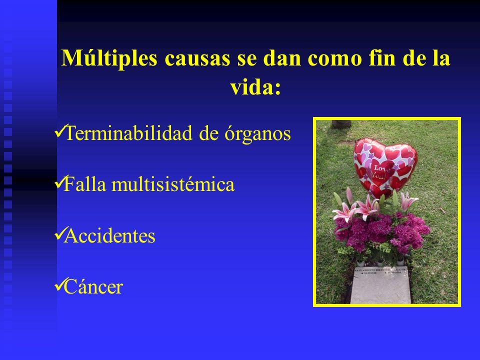 Múltiples causas se dan como fin de la vida: Terminabilidad de órganos Falla multisistémica Accidentes Cáncer