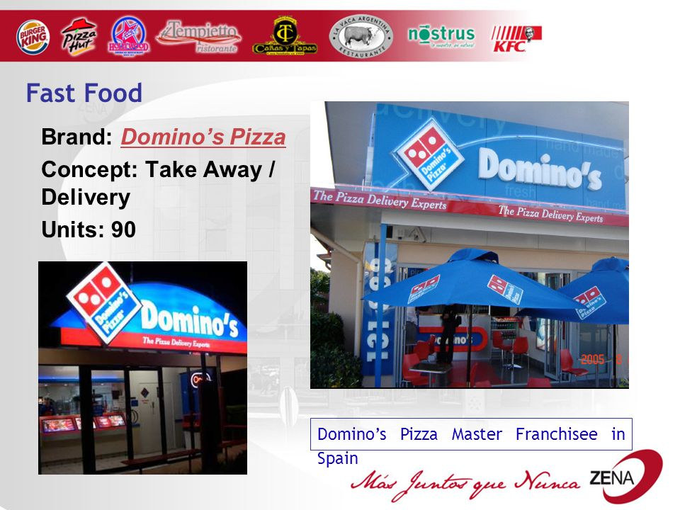 Brand: Dominos Pizza Concept: Take Away / Delivery Units: 90 Dominos Pizza Master Franchisee in Spain Fast Food