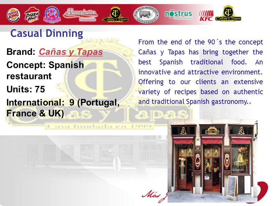 Brand: Cañas y Tapas Concept: Spanish restaurant Units: 75 International: 9 (Portugal, France & UK) From the end of the 90´s the concept Cañas y Tapas