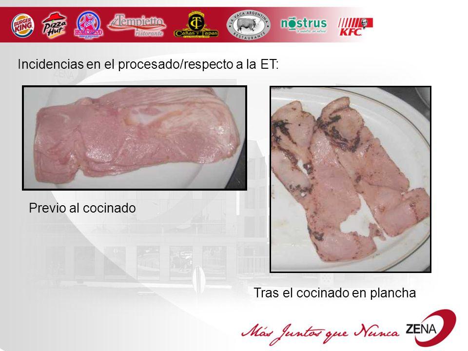 Incidencias en el procesado/respecto a la ET: Previo al cocinado Tras el cocinado en plancha