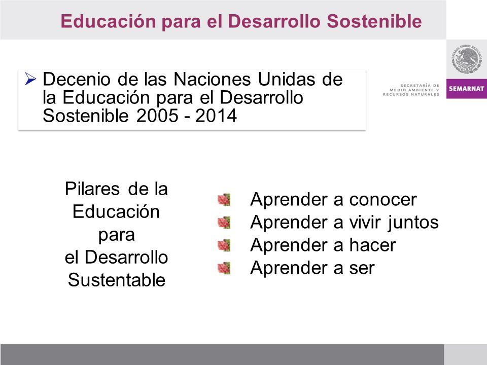 Decenio de las Naciones Unidas de la Educación para el Desarrollo Sostenible 2005 - 2014 Pilares de la Educación para el Desarrollo Sustentable Aprender a conocer Aprender a vivir juntos Aprender a hacer Aprender a ser Educación para el Desarrollo Sostenible