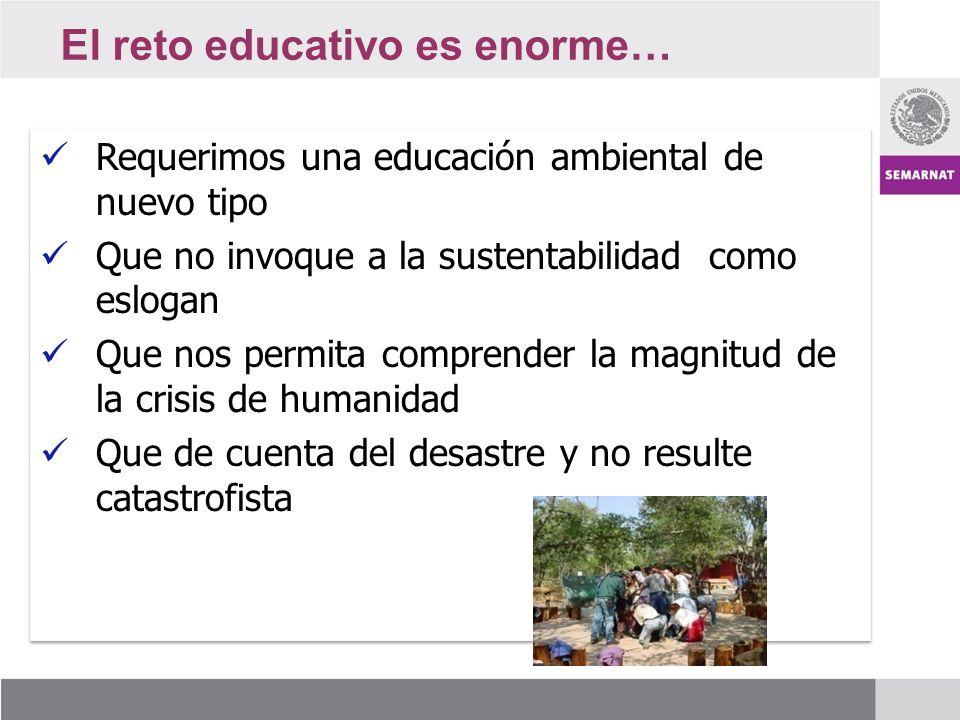 El reto educativo es enorme… Requerimos una educación ambiental de nuevo tipo Requerimos una educación ambiental de nuevo tipo Que no invoque a la sustentabilidad como eslogan Que no invoque a la sustentabilidad como eslogan Que nos permita comprender la magnitud de la crisis de humanidad Que nos permita comprender la magnitud de la crisis de humanidad Que de cuenta del desastre y no resulte catastrofista Que de cuenta del desastre y no resulte catastrofista Requerimos una educación ambiental de nuevo tipo Requerimos una educación ambiental de nuevo tipo Que no invoque a la sustentabilidad como eslogan Que no invoque a la sustentabilidad como eslogan Que nos permita comprender la magnitud de la crisis de humanidad Que nos permita comprender la magnitud de la crisis de humanidad Que de cuenta del desastre y no resulte catastrofista Que de cuenta del desastre y no resulte catastrofista
