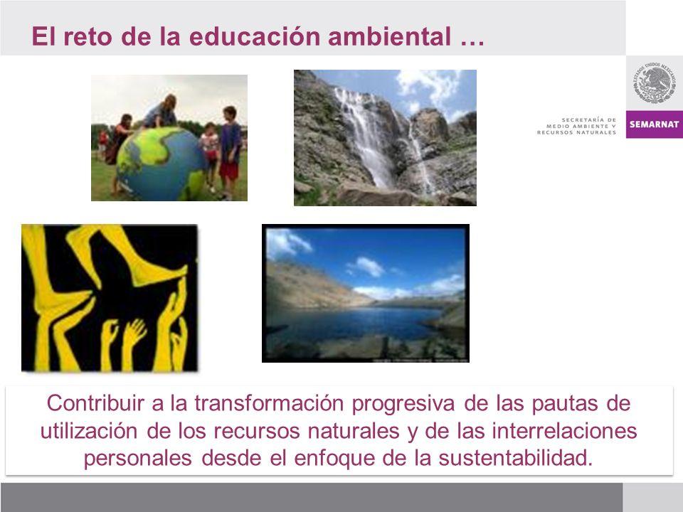 El reto de la educación ambiental … Contribuir a la transformación progresiva de las pautas de utilización de los recursos naturales y de las interrelaciones personales desde el enfoque de la sustentabilidad.