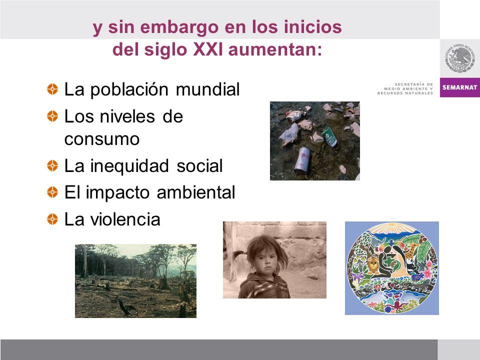 La población mundial Los niveles de consumo La inequidad social El impacto ambiental La violencia y sin embargo en los inicios del siglo XXI aumentan: