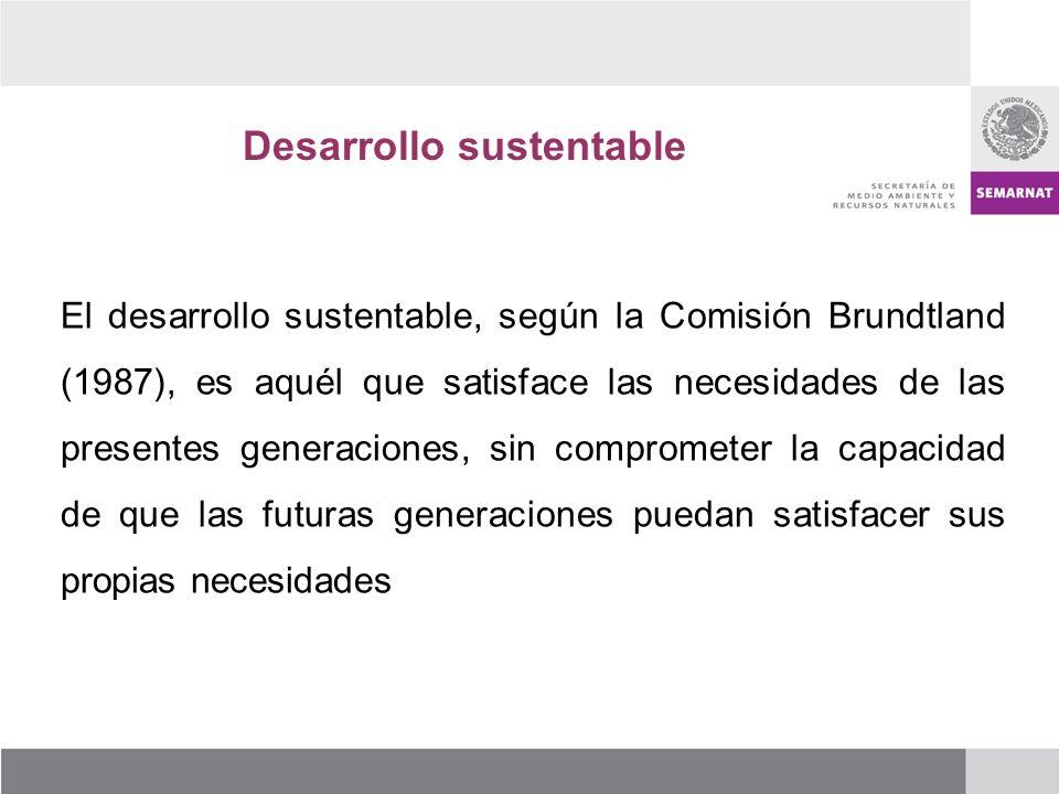 Desarrollo sustentable El desarrollo sustentable, según la Comisión Brundtland (1987), es aquél que satisface las necesidades de las presentes generaciones, sin comprometer la capacidad de que las futuras generaciones puedan satisfacer sus propias necesidades