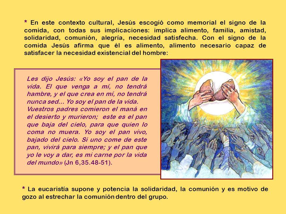 * En el AT se anuncia la plenitud del Reino de Dios con la imagen de un banquete que preparará el Señor: * En este contexto cultural Jesús se sirvió de la comida para proclamar la llegada del Reino de Dios, especialmente admitiendo a su mesa a los pecadores (Mc 2,15-17; Lc 15,2).