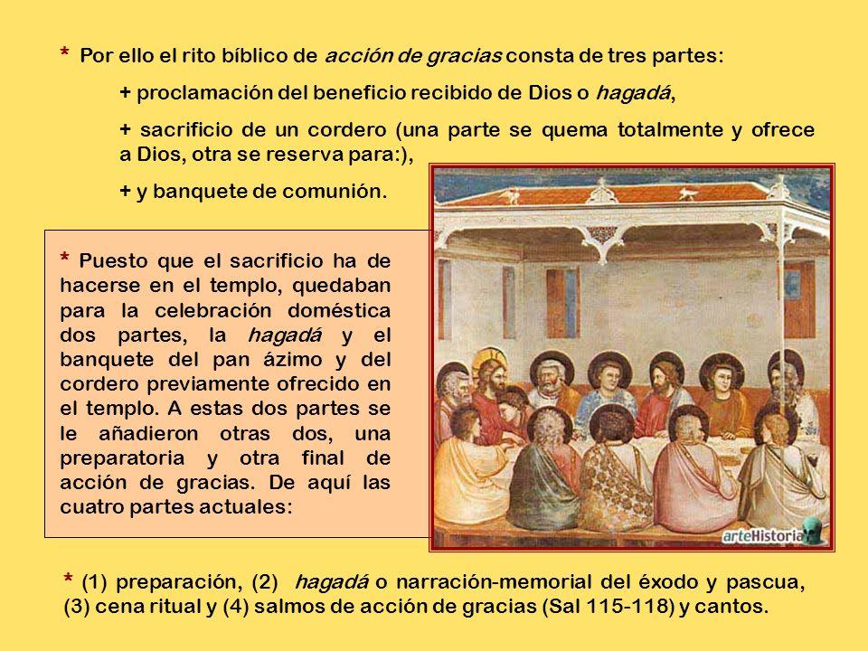 * La cena pascual se celebraba en las casas de acuerdo con el rito de acción de gracias o eucarístico. * Este rito simboliza los actos que suelen real