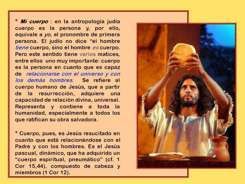 * Esto se refiere a los trozos de pan ázimo que Jesús ha despedazado y dado a los comensales. Es un pan con una rica tradición: el pan que alimenta y