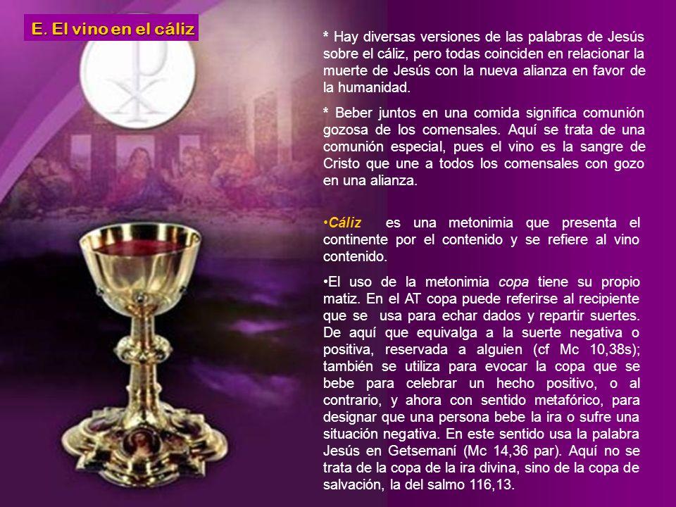 * Que se entrega por vosotros. El Jesús que se hace presente en la Eucaristía es el que se está entregando al Padre por su muerte y resurrección en fa