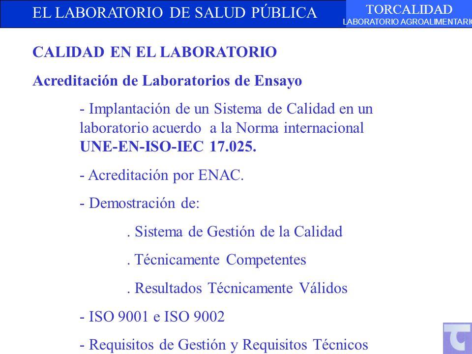 EL LABORATORIO DE SALUD PÚBLICA TORCALIDAD LABORATORIO AGROALIMENTARIO CALIDAD EN EL LABORATORIO Acreditación de Laboratorios de Ensayo - Implantación de un Sistema de Calidad en un laboratorio acuerdo a la Norma internacional UNE-EN-ISO-IEC 17.025.